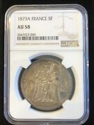 France 1873a 5 Francs Large Silver Coin Ngc Au58 Nice Toning Looks Bu To Me