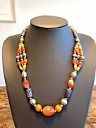 C19th Antique Indian Solid Silver Natural Agate Lapis Lazuli Amber Bead Necklace
