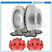 Rear Brake Calipers And Rotors + Ceramic Pads For Ford F-250 F-350 Super Duty