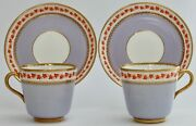 Brown-westhead Moore Pair Of Lilac Cups And Saucers C.1875