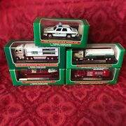 Set Of 5 Hess Mini Trucks 1998, 99, 02, 03, And 13 Direct From The Factory Case
