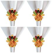 Whimsical Turkey Shaped Thanksgiving Napkin Rings Set Of 4 Metal 3.5 Inches
