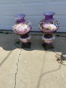 Antiquegone With The Wind Parlor Banquet Lamp Painted Roseselectrified Purple
