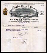 1911 Los Angeles - California Wines And Brandies Charles Stern And Sons Letter Head