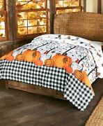 Plaid Pumpkin Country Comforter Fall Leaves Harvest Thanksgiving Bedroom - King