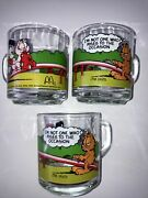 Garfield Vintage 1980 Mcdonald Glasses With A Handle And Odie Set Of 3 Jim Davis