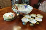 Antique Tandv Limoges And Royal Austria Handpainted Grapes Bowl Platesand Footed Bowls