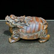 Collectible Old Boxwood Japanese Netsuke Wealth Dragon Turtle Vintage Statue