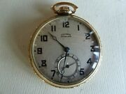 Antique Illinois Open Face Gold Filled 17 Jewel Pocket Watch Recent Full Service