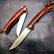 Straightback Folding Knife Pocket Hunting Survival M390 Steel Wood Collectible S
