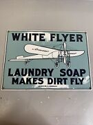 Porcelain On Steel Ande Rooney White Flyer Laundry Soap 1987 Made In Usa