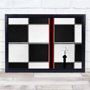 Red Abstract Selective Color Lamppost Squares Wall Art Print