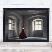 Red Gown Castle Manor Victorian Woman Window Light In Wall Art Print