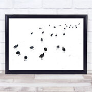 March Of The Coots Coot Winter Abstract Bird Snow Eindhoven Wall Art Print