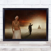 The Prohibition Naked Roped Woman Man Pointing Suit Castle Distance Art Print