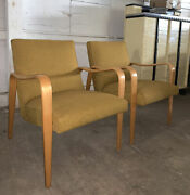Thonet Mid Century Modern Bentwood Gold Upholstered Arm Chairs A Pair