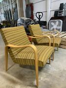 Thonet Mid Century Modern Bentwood Gold Striped Upholstered Arm Chairs A Pair