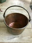 Antique Large Copper Apple Butter Pot Kettle Handcrafted Dovetail