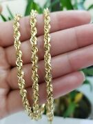 Real 14kt Gold Rope Chain 5mm 18-26 Solid 14k Yellow Gold Necklace Diamond Cut