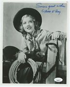 Nell Oday Signed Photo Cowgirl1950s 8 X 10 Inches Jsa Coa Included Free Shipping