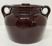 Brown Crock + Lid Made In Usa Pottery Centerpiece Country Home Decor Vtg Kitchen