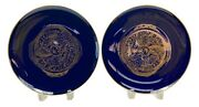 Matching Pair Manufacture De Sevres Cobalt And Gold Cabinet Plates 1985