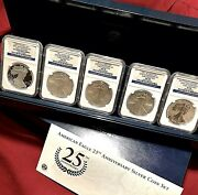 2011 Silver Eagle 25th Anniversary 5-coin Set Ngc 70 Early Release Er