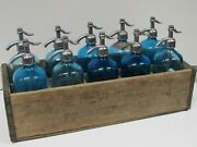 Rare And Vintage Seltzer Soda Bottle Wood Carrying Crate 10 Blue Glass Bottles