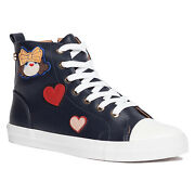 Love Moschino Black High Top Lace Up Heart Sneakers-6