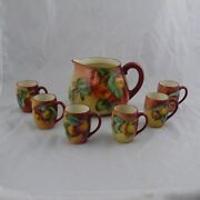 Antique Tandv French Limoges Hand Painted Apple Cider Set Pitcher With 6 Cups