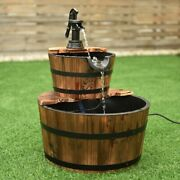 Antique Rustic Style Look 2tiers Outdoor Wooden Barrel Waterfall Fountain And Pump