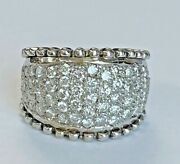 14k White Gold And 2.00 Ct Round Diamond Women' S Unique Chunky Band Ring Pretty