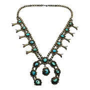 Sa Hallmark Navajo Vintage Silver And Turquoise Southwest Squash Blossom Necklace