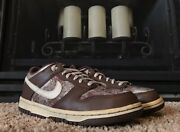 2006 Rare Nike Dunk Low Light Chocolate With Canvas Leather 4.5y/w 6 310569-221
