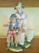 Lladro Nao The Music Lesson Clown With Boy Rare Huge