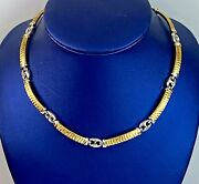 14k Italy 2 Tone Solid Gold Womenand039s Fancy 15and039and039 Inch Luxury Chain Neckalce Unique