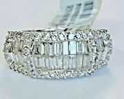 14k White Gold 2.03ct Diamond Baguette Clusters Womens Unique Ring Thick Band