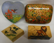 4 Lacquered Handpainted Wood Jewelry Ring Trinket Box W/ Lids Lot Birds And Lion