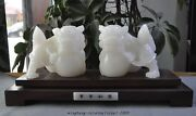 Chinese Fengshui Natural White Jade Hand-carved Foo Dog Lion Lucky Statue Pair