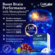 Celllabs Memo-x Brain Booster Boost Concentration Learning And Focus1-4 Boxes