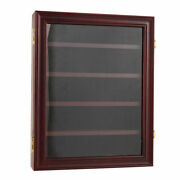 Wood Medal Coin Display Case Lockable Shadow Box Wall-mounted Cabinet Shelf
