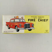 Ichico Tinplate Car Mercedes Fire Chief Red Friction Power Retro Vintage Toy