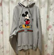 × Disney Mickey Size S Parker Gray Genuine From Japan Used