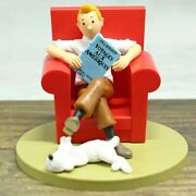 Tintin Sitting Sofa Snowy Collectible Model Statues Office Home Decoration Toy