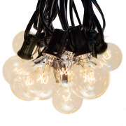 G40 Clear Outdoor Globe String Lights Black Wire For Yard, Cafe, Deck, Patio