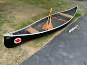 Great Canadian Canoe With Bent Style Oars And Motor Mount Excellent Condition