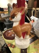 Vintage 18-1/2andrdquo Empire Reindeer And Candle Blow Mold Christmas Decoration 1972