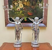 Large Antique American Pair Silvered Bronze Cupid Candelabras