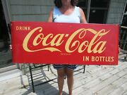 Vintage Original 1954 Drink Coca Cola In Bottles Porcelain Sled Sign 44and039and039 X 16and039and039