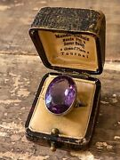 Antique Victorian Amethyst Ring 18k White Gold @ 20carats